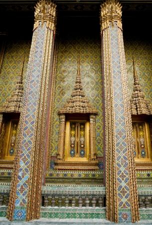 Traditional Thai style Buddhist church window  temple  Stock Photo