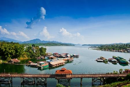 Thailand Floating Town in Sangklaburi Kanchanaburi Thailand