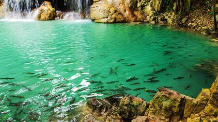 Erawan waterfall in the Erawan national park Stock Photo