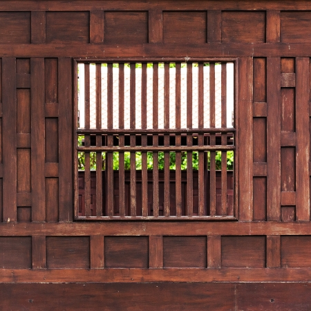 Thai style wooden wall background photo