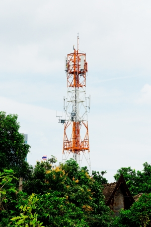 telephone mast: Telecommunication pillar in city Stock Photo