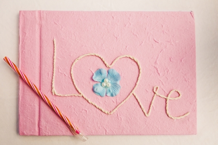 Notebooks, greeting love pink  photo