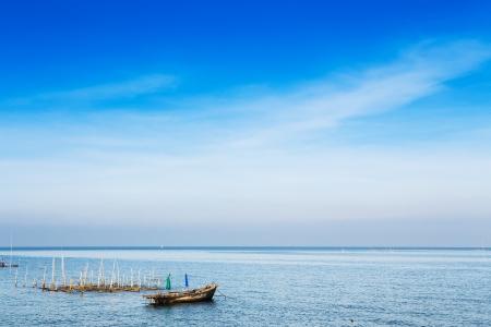 trawler net: Small fishing boats in the sea