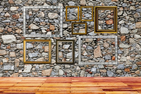 the set of frames isolated on wall background Stock Photo