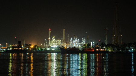 refinement: Night scene of Oil refinery, Bangkok, Thailand Editorial