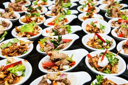 Luxury food and drinks on wedding table