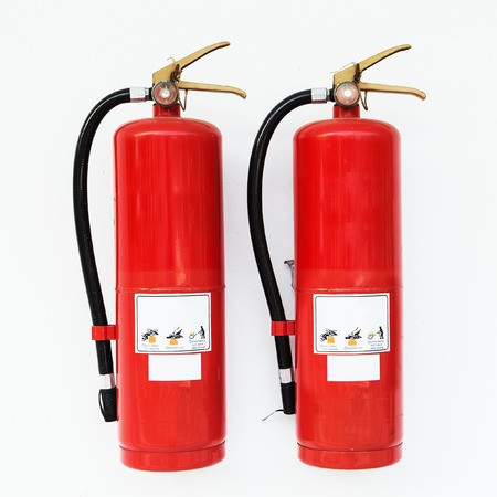fire extinguisher: Red fire extinguisher