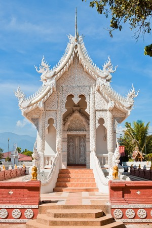apex: Silver Sanctuary, Gable apex in temple roof , Chiangmai Province, Thailand Stock Photo