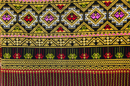Colorful Thailand style rug surface close up  More of this motif   more textiles in my port photo