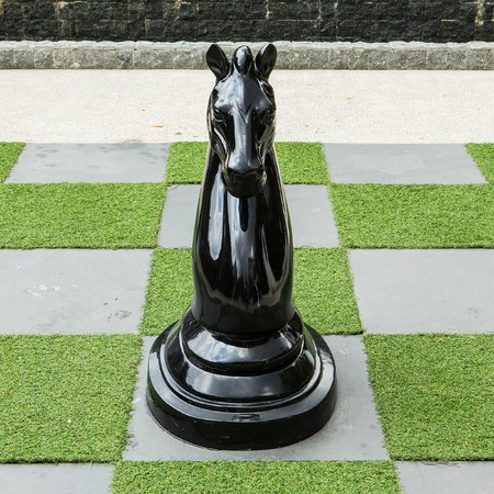 Big Chessboard - Big Horse Chess Stock Photo