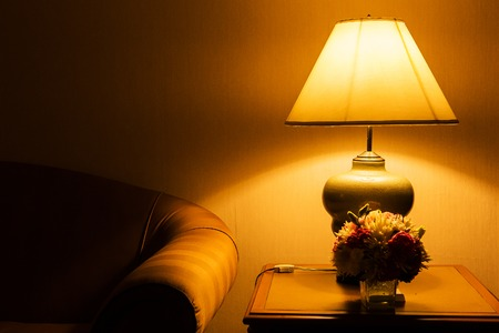 table lamp and sofa