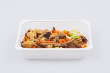 vermicelli: Fideos al horno con orejas de mar vegetariana Foto de archivo