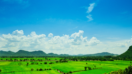 Aerial view of a green rural area under blue sky photo