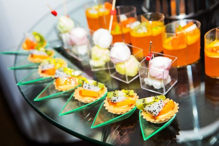 Thailand dessert made from fruits in the buffet line. Stock Photo