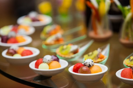 Thailand dessert made from fruits in the buffet line. Banco de Imagens