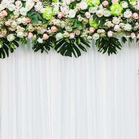 floral decoration: Beautiful flowers background for wedding scene Stock Photo