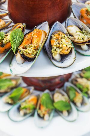 mussel: Mussel cheese and garlic bread Stock Photo