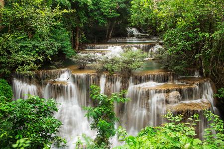 The fourth level of Huai Mae Kamin Waterfall in Kanchanaburi,Thailand