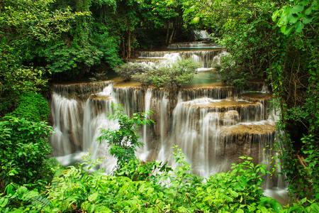 kamin: The fourth level of Huai Mae Kamin Waterfall in Kanchanaburi,Thailand