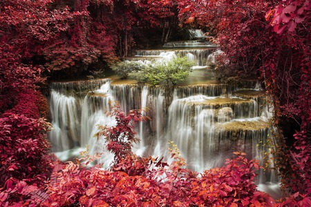 kamin: Waterfall,Level four of Waterfall Huai Mae Kamin in Kanchanaburi,Thailand, Style light red background Stock Photo