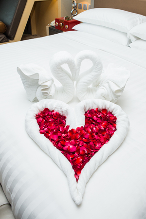 wedlock: love swans and rose decoration in hotel, towel wedding decoration, love, couple, resort