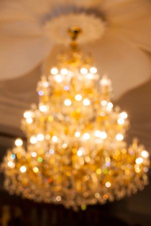 crystal chandelier: orange bokeh from crystal chandelier