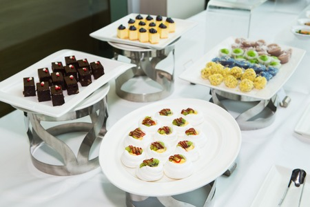 line lines luxury meeting: Thailand dessert made from fruits in the buffet line. Stock Photo