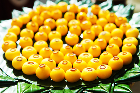 flavored: Thai sweets, or Khanom Thai have unique, colorful appearance and distinct flavors. The art of Thai desserts have been passed down through the generations