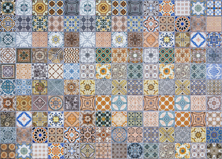fabric painting: ceramic tiles patterns from Portugal.