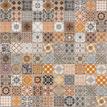 cuadros abstractos: azulejos patrones de cer�mica de Portugal. Foto de archivo