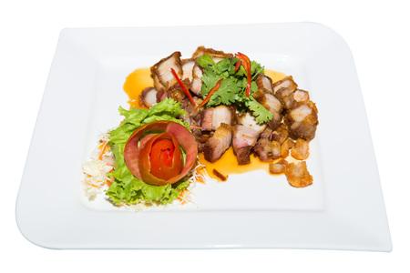 deep fried: deep fried pork belly with liver sauce