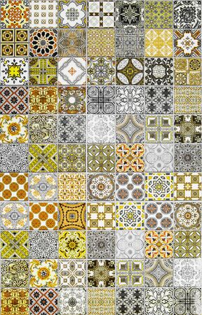 azulejos: Ceramic tiles patterns from Portugal yellow tone