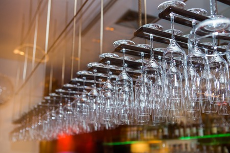 hanged: Glasses hanged over the bar table