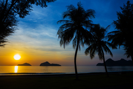 Natural scene at Ao Manow beach in sunrise time. Process color. Stock Photo