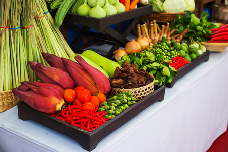 Kind of Thai vegetables set in Thai kitchen style.
