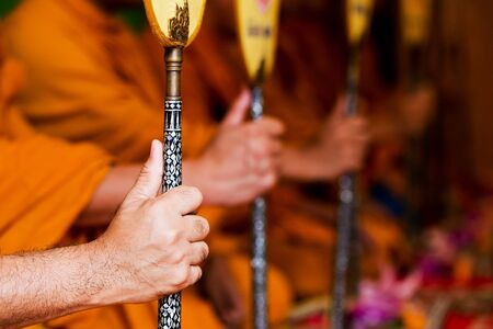 ordination: pray, Put the palms of the hands together in salute , monks, thailand