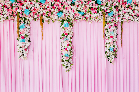 wedding backdrop: Wedding backdrop with flower decoration for background Stock Photo
