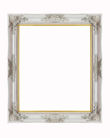 Silver picture frame isolated on white background Stok Fotoğraf - 60893050