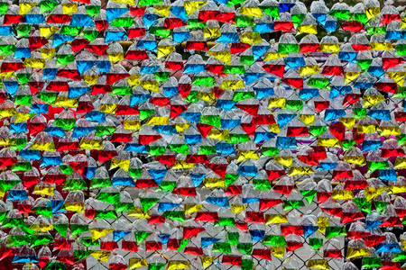 plastic bags: Colorful water in plastic bags for background