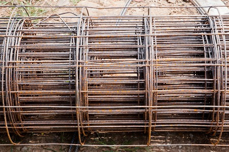reinforce: Steel rod used for poles construction with reinforce concrete at construction site.