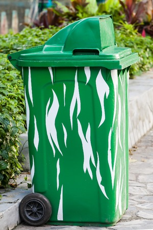 residential street: Recycle bins on the curb on residential street