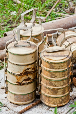 food storage: Antiquity tiffin Thailand style for put food