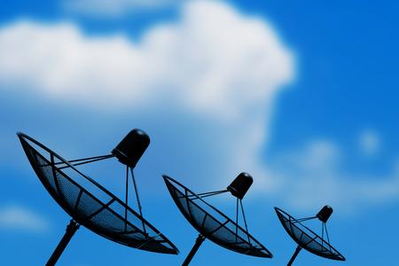 Satellite dish sky sunset communication technology network Stock Photo