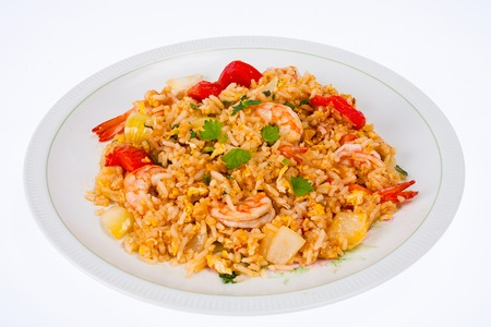 Fried rice with shrimp on white plate Stock Photo