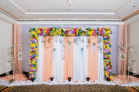 wedding backdrop: Beautiful backdrop flowers ready for wedding ceremony. Stock Photo