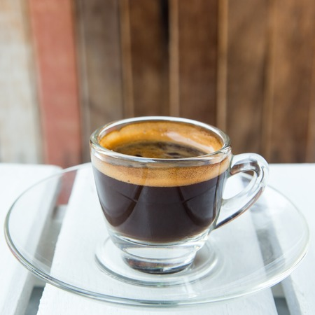 Cup of coffee wood background Stock Photo