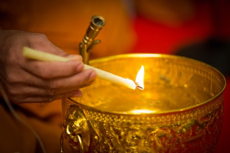 holy water, the monks and religious rituals in thai ceremony Stock Photo