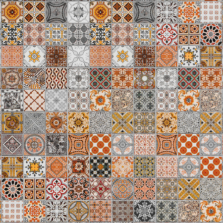 azulejos: ceramic tiles patterns from Portugal.