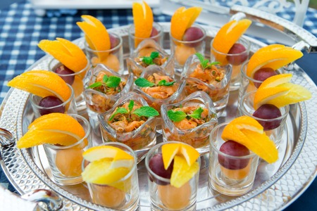 Yum canned fruit cocktail orange wedding in the party Stock Photo