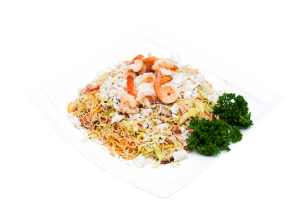 Stir fried rice noodles-Hong Kong with seafood Stock Photo